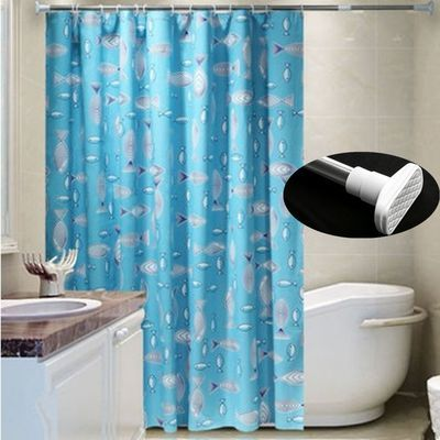 免打孔浴帘套装加厚防水防霉浴帘布浴室隔断帘窗帘挂帘卫生间浴帘