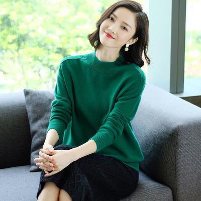 100%纯羊毛衫女半高圆领打底衫百搭宽松大码加厚绿蓝色毛衣秋冬款