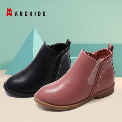 abckids童鞋 女童皮鞋新款冬季加绒休闲鞋二棉校园女生洋气皮鞋
