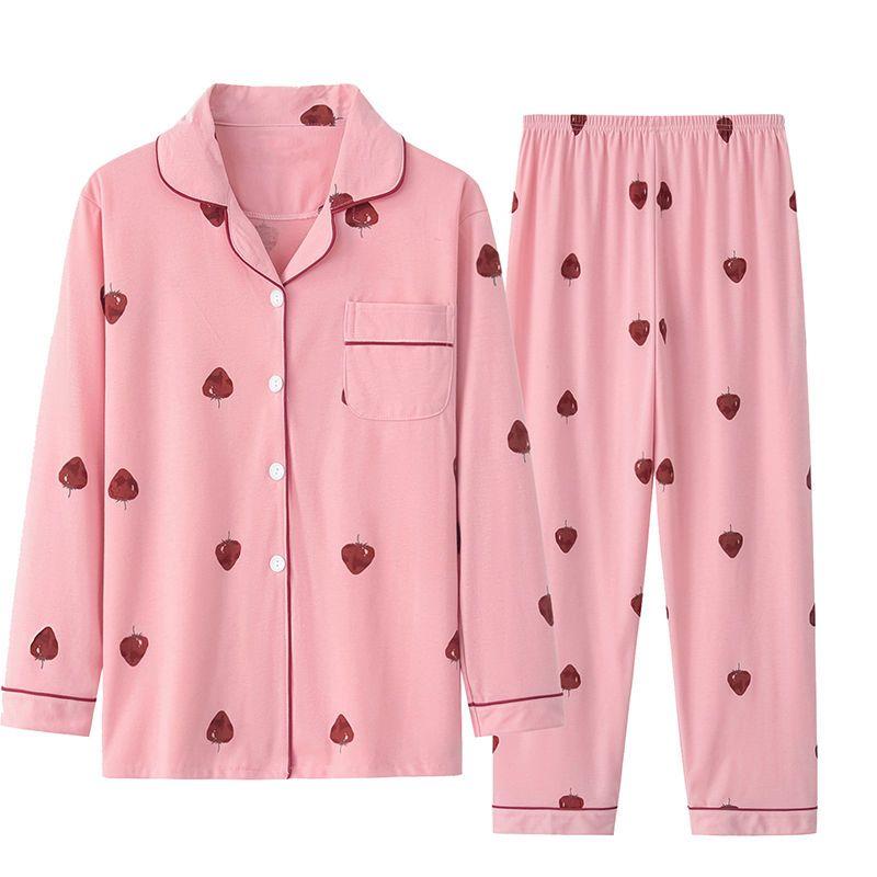 【品质睡衣】睡衣女秋冬月子服宽松长袖睡衣女学生纽扣大码家居服