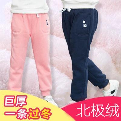 男女童裤加绒加厚运动裤冬款中小童宽松外穿儿童棉裤宝宝保暖裤子