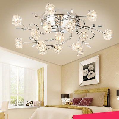 北欧铁艺灯简约现代大气客厅灯温馨浪漫卧室灯创意冰块水晶吸顶灯