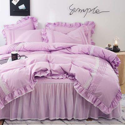 新款100%纯棉床上用品被套床罩双人全棉四件套韩版公主风床裙家用