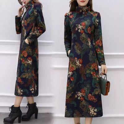 加厚保暖长裙大码显瘦正式场合打底裙冬装新款印花连衣裙妈妈装女