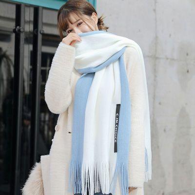 围巾女冬季学生韩版情侣百搭长款针织毛线围巾男加厚保暖拼色围脖