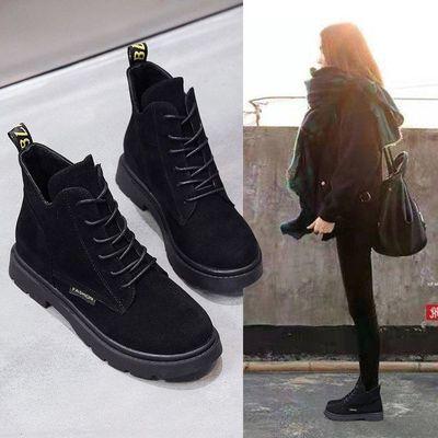 马丁靴女鞋2020年新款短靴英伦风秋冬季百搭加绒韩版平底磨砂冬鞋