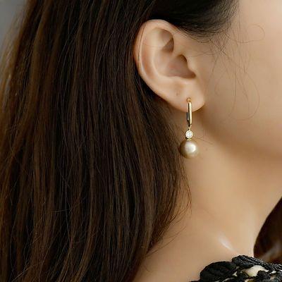 女纯银防过敏耳钉韩国东大门珍珠耳环银针超闪气质简约百搭几何款