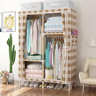 出租房简易衣柜实木组装布艺衣橱收纳柜家用卧室牛津布挂衣服柜子