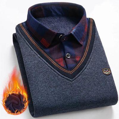 假两件毛衣男加绒加厚打底衫金洋船秋冬季中青年衬衫领针织衫外套