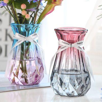 创意玻璃花瓶透明彩色绿萝观音竹植物水培花瓶风信子插花瓶摆件