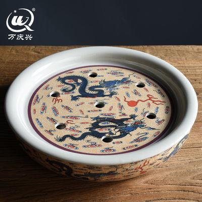 陶瓷茶盘家用储水式托盘简约干泡盘圆形泡茶台功夫茶盘