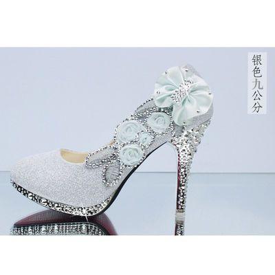 新款水晶鞋婚鞋女新娘鞋白色蕾丝礼服高跟防水台公主大码透气优雅【3月1日发完】