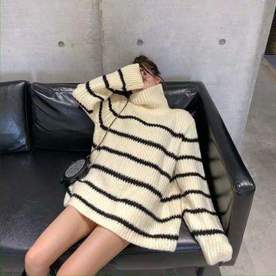 78580/冬季保暖慵懒风中长条纹高领毛衣女学生韩版宽松百搭加厚针织衫潮
