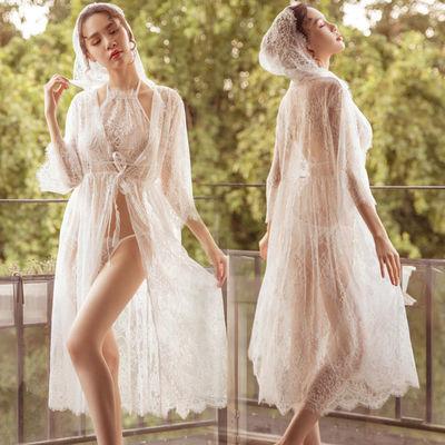 甜美性感蕾丝透视诱惑挂脖睡裙套装三点女式仙女睡袍欧美情趣内衣