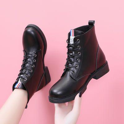秋冬季女靴子新款英伦风马丁靴女网红短筒短靴平底学生棉靴女皮靴