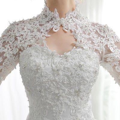 一字肩婚纱礼服2018新款新娘结婚显瘦鱼尾婚纱小拖尾轻纱长袖冬季