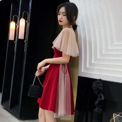 一字肩敬酒服新娘2019秋酒红色结婚高贵晚礼服女优雅显瘦短款【3月1日发完】