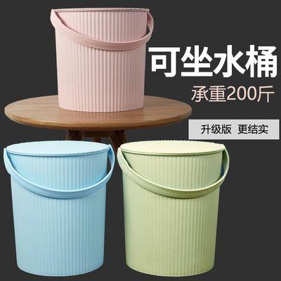 水桶凳塑料加厚可坐家用储水钓鱼桶手提洗澡篮洗衣带盖储物收纳桶