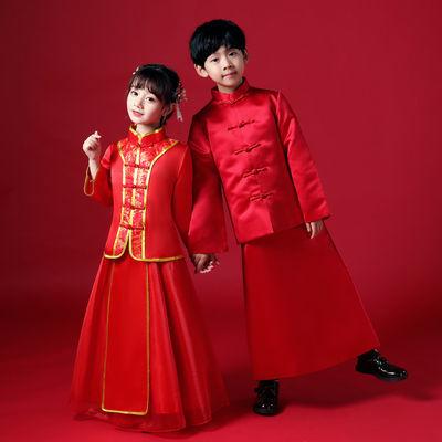 中式婚礼男女花童服装传统红色小秀禾清朝民国儿童婚庆年会拜年服