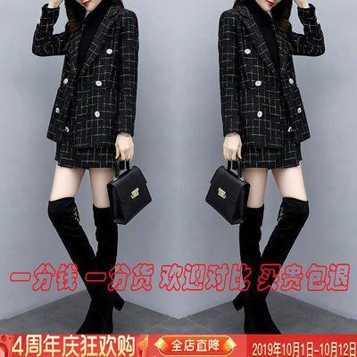 2019秋冬新款小香风两件套名媛粗花呢西装外套显瘦气质短裤套装女