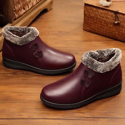 冬季加绒保暖中老年妈妈棉鞋女鞋平底老人皮鞋女士短靴防滑奶奶鞋