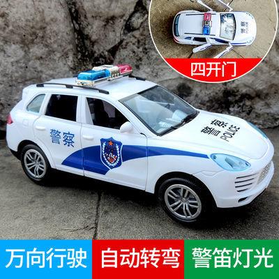 大号越野警察车充电电动玩具车警笛音乐自动万向开门说话汽车模型