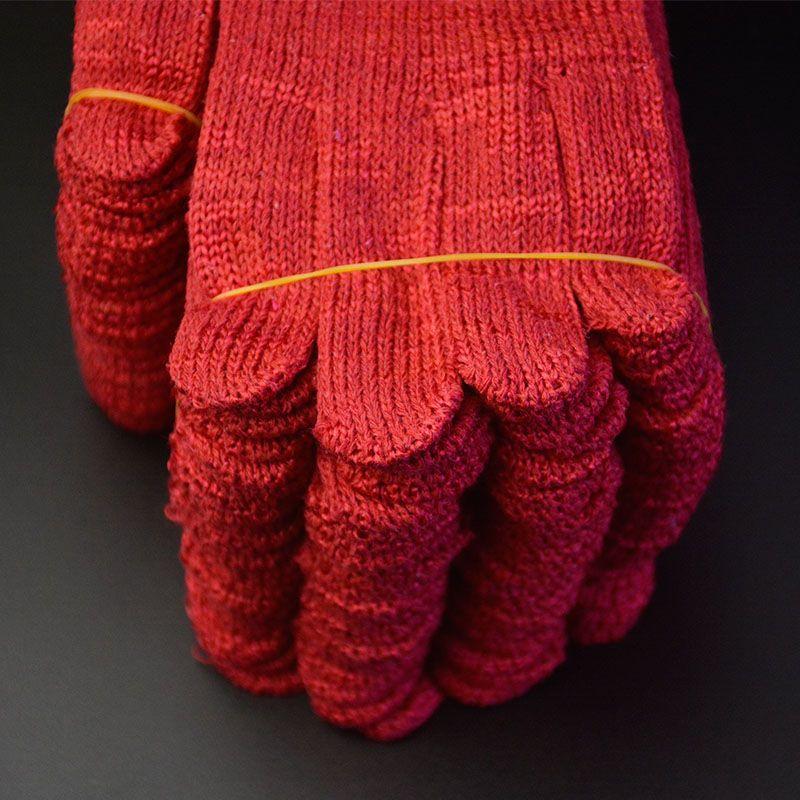 12双60双大红色喜庆手套劳保喜事搬家结婚耐磨加厚正红色均码男女