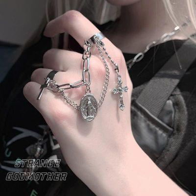 复古十字架连体戒指女双指耶稣时尚个性开口可调节链条带吊坠流苏