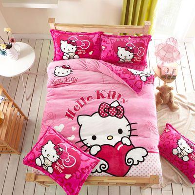 秋冬加厚法莱绒四件套卡通KT猫叮当猫被套法兰绒床单床笠床上用品