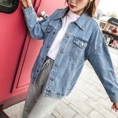 2020大码女装胖MM秋冬显瘦宽松版200斤韩版减龄纯色牛仔外套上衣