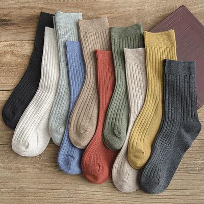 【3-5双】袜子女韩版中筒袜秋冬棉袜ins长筒袜日系长袜子堆堆袜女