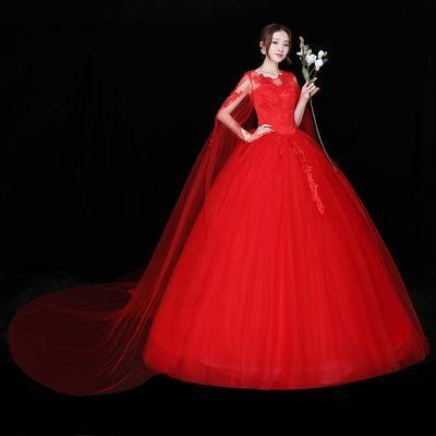 红色婚纱礼服2019新款婚纱拖尾显瘦修身长拖尾婚纱一字肩修身韩式【3月1日发完】