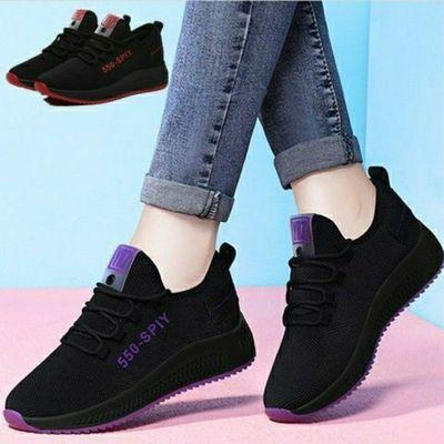 黑色运动鞋2020秋季跑步女学生新款网面平底透气百搭休闲女士鞋子
