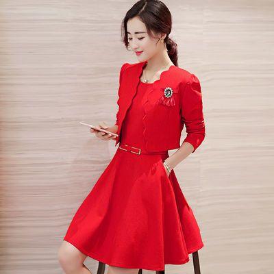 新款小香风名媛红色新娘两件套连衣裙结婚敬酒服订婚小礼服针织连