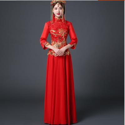 新款婚纱礼服旗袍2019春秋长款红色中式婚纱结婚秀禾服新娘礼服敬