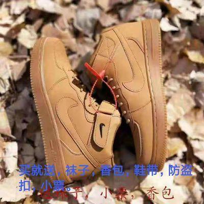 新款空军一号男女高低帮经典ins超火板鞋情侣运动鞋小麦色百搭运