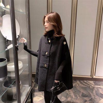 小香风蝙蝠袖斗篷呢子大衣女2020冬新款小个子黑色中长款毛呢外套