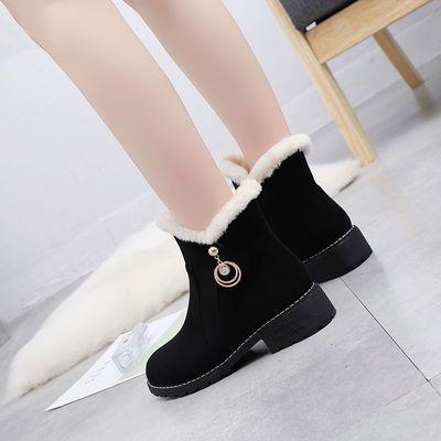 冬季雪地靴冬天棉鞋高帮平底短靴少女大童初中生高中生学生女棉靴