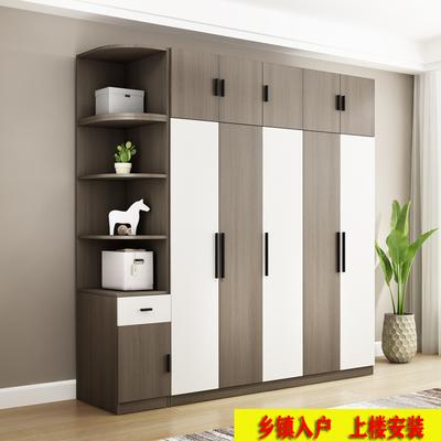 板式衣柜北欧简约现代经济型组装34门卧室整体衣橱实木质家具组装主图