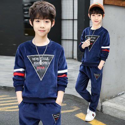 2020新款童装男童秋装套装韩版儿童洋气金丝绒秋冬季韩版潮卫衣套