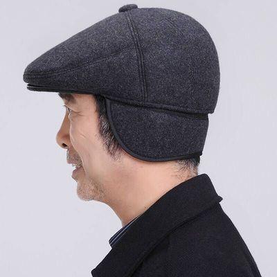 中老年帽子男士秋冬鸭舌帽前进帽老人帽子男冬天保暖帽老头护耳帽