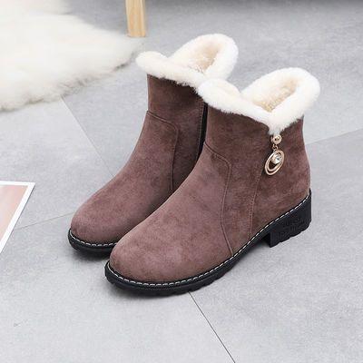 磨砂软皮靴子加绒短靴女中跟棉鞋秋冬季韩版时装女靴粗跟高跟鞋冬