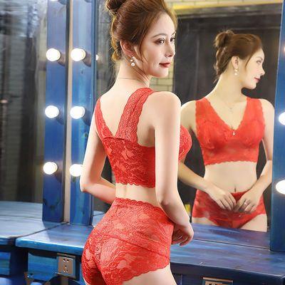 【单件/套装】美背内衣无钢圈睡眠文胸大码薄款蕾丝运动聚拢胸罩
