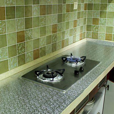 墙纸自粘厨房防油贴纸台面防水防潮耐高温墙贴锡箔纸厨柜子灶台用