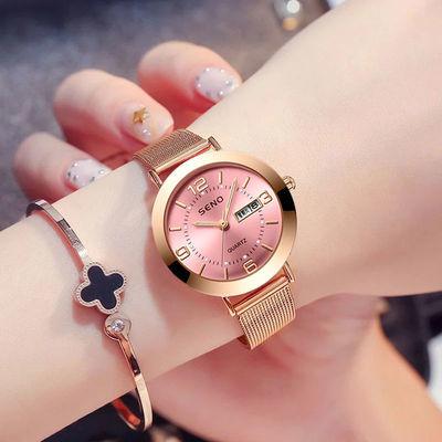 手表女学生韩版简约时尚潮流百搭防水夜光女士手表石英表非机械表