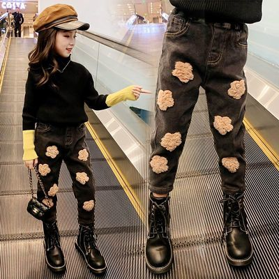 女童裤子春秋儿童牛仔裤女冬款加厚外穿长裤2020新款宽松洋气韩版