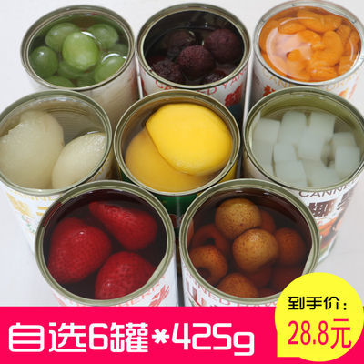 水果罐头混合6罐每罐425克新鲜黄桃橘子草莓杨梅山楂梨子马蹄罐头