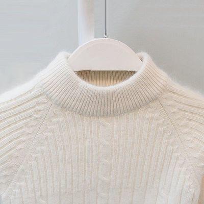 儿童毛衣男童羊绒衫女童加厚白色冬季羊毛衫中大童套头纯色打底衫