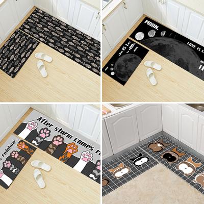 北欧ins厨房地垫可擦洗澡免间防油防水长条门垫耐脏家用地垫防滑