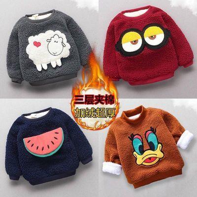 宝宝加厚卫衣棉衣3层保暖加棉加绒外套儿童卡通秋冬上衣1-2-3-4岁